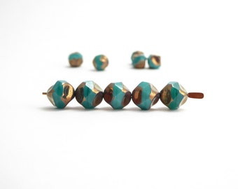 10 x 9mm Turquoise Central Cut Czech Glass Beads, Turquoise Central Cut Beads, Turquoise and Gold Beads, Turquoise Glass Beads CTC0008