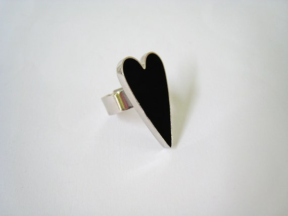 Black Heart ring, black resin ring, onyx black glass ring, modern minimalist, stainless steel ring, sexy goth rock anniversary gift