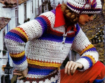 Crochet Henley Pullover and Hat Vintage Crochet Pattern Download