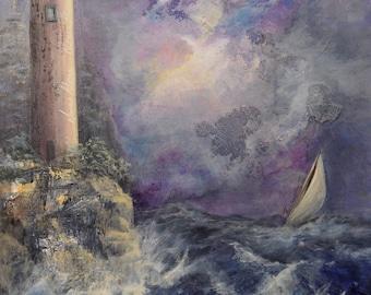 Lighthouse painting, mixed media painting,  stormy sea painting, lighthouse storm painting, mixed media, collage, fine art, tybi studio