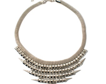Silver Punk Rock Statement Necklace