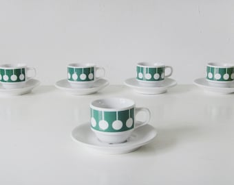 Cups and saucers Seltmann, Bavaria, W. Germany, emerald green, popart print, vintage design