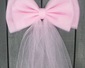 Light Pink Tulle Pew Bow   Optional Silver or Gold Bling   Wedding Ceremony Party   Bridal Shower   Chair Sash   Gender Reveal It's A Girl