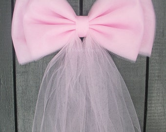 Pink Tulle Pew Bow, Optional Silver or Gold Bling, Wedding Baby Bridal Shower, Chair Sash, Party Decoration, Birthday, It's A Girl