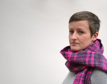 Scarf - Merino wool hand woven scarf in grey and fluorescent pink.