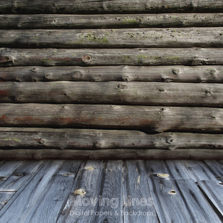 Timber wall baby photography backdrop wood cabin log