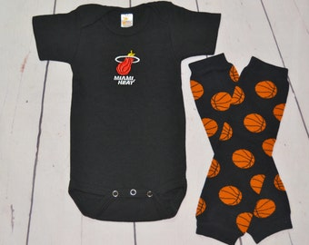 Miami Heat Onesie and Legwarmers set! Baby Boy Basketball Set