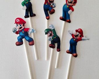 12 ct Super Mario Bros Cupcake Toppers (Mario and Luigi)