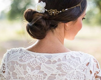 """Marriage headband """"In love""""  pearls and  white flower"""