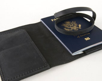 The Dublin - Passport Case and Travel Document Holder in Charcoal Black Leather