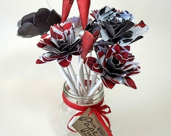 Paper Flower Mason Jar Bouquet - Flowers with Stems in Red, White & Black