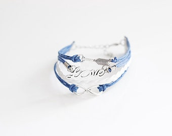 Arrow Love Infinity Blue White Cord Bracelet