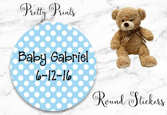 Baby Boy Shower Stickers - Blue - White - Dots - Set of 12 Round Labels - Personalized Labels - Tags - Stickers - Baby Shower Labels