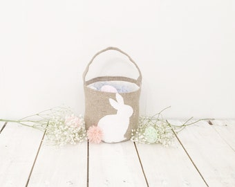Easter bunny basket Egg hunt basket Burlap Easter basket Personalized Easter basket Easter gift Easter decorations Spring decor linen basket