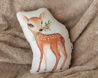 Deer pillow. Baby deer nursery decor. Fawn woodland pillow. Woodland Nursery decor. Gift for kids. Nursery pillow. Woodland animal decor.