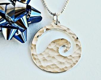 Hammered Wave Necklace Ocean Jewelry Ocean Wave Necklace Wave Jewelry Silver Necklace Ocean Wave Pendants Trending Jewelry On Trend For Her