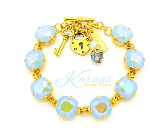 BLUE OPAL TWIST 12mm Cushion Cut Pendant Bracelet Swarovski Elements *Pick Your Finish *Karnas Design Studio *Free Shipping*