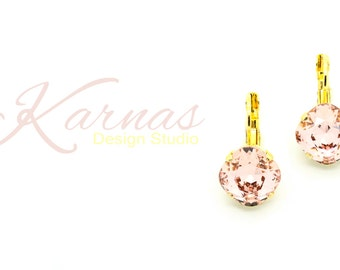 VINTAGE ROSE 12mm Cushion Cut Drop or Stud Earrings Swarovski Elements *Pick Your Finish *Karnas Design Studio *Free Shipping