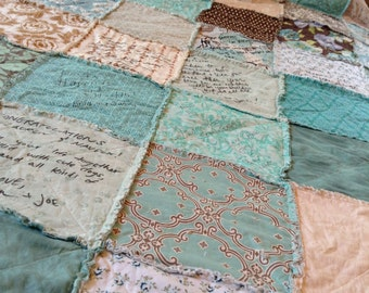 Guestbook Quilt // Reserved // WEDDING QUILT // Guest Book // Rag QuiLT // Fabrics, Style // Custom, Handmade // Complete Quilt