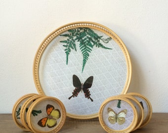 Vintage Butterfly Coasters with Serving Tray - Bamboo & Lace