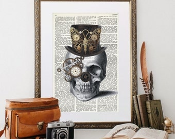 STEAMPUNK SKULL Collage Print on Vintage Dictionary Page, Skeleton with top hat and monocle, gift for geeks, whimsical decor, quirky, #049