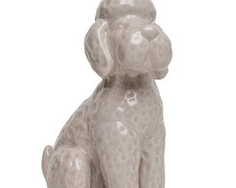 """Interior Illusions Grey Poodle Bank With Crystal Crown, Home, Decoration, Sculpture, Accessory, Desk top, Table top, Gift - 12"""" Tall"""