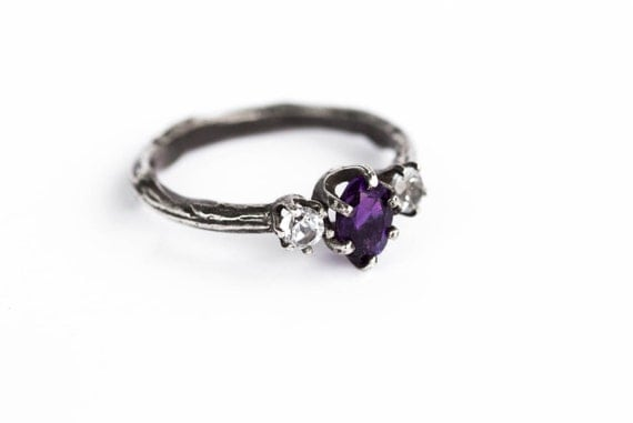 Amethyst and white topaz twig engagement ring, twig engagement ring, sterling silver amethyst ring