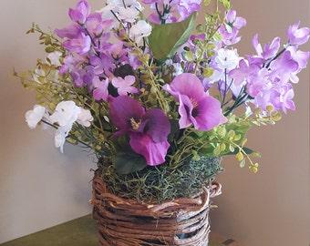 Purple Pansies in Twig Vase, Lilac Arrangement, Purple Flower Arrangement, Spring Flowers, Grapevine Vase, Spring Floral Arrangement,