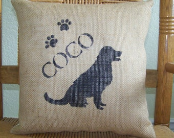 Golden retriever pillow, personalized dog pillow, pet pillow, silhouette pillow, burlap Pillow, stenciled pillow, FREE SHIPPING!
