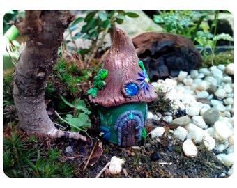 Rustic Miniature Fairy garden house hand sculpted polymer clay with Glow-in-the-dark window custom made for Teacup gardens terrarium house