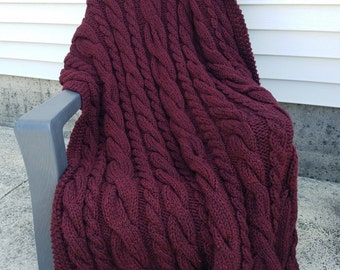 Chunky Hand Knit Cable Afghan / Throw / Blanket - Deep Red
