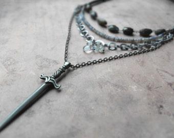 Sword chain link labradorite necklace / Excalibur multistrand necklace / bohemian, rustic / flashy labradorite, moonstone, annealed steel