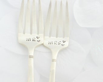 Mr. and Mrs. wedding forks. Hand stamped, wedding gifts-wedding present, anniversary gifts-Bridal Shower Ideas