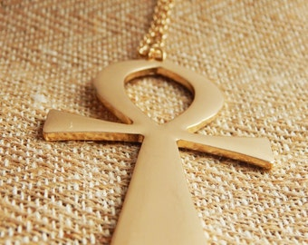 Gold Ankh Necklaces Large Ankh Jewelry Egyptian Necklaces Ankh Pendant Gold Hip Hop Jewelry