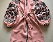 Ukrainian embroidered tunic Ethnic Folk Boho style Vita Kin Pink Long sleeve 100% Linen