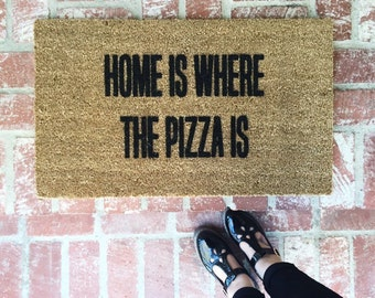 sweet house front double door design.  Doormat Etsy