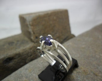 Crimped an Iolite sterling silver ring