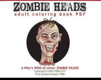 PDF Adult Coloring book of zombie heads, Coloring pages walking dead, instant download printable PDF by SLS Lines, 12 pages