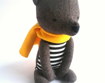ENOK the bear. made-to-order. eco stuffed toy. woodland animal