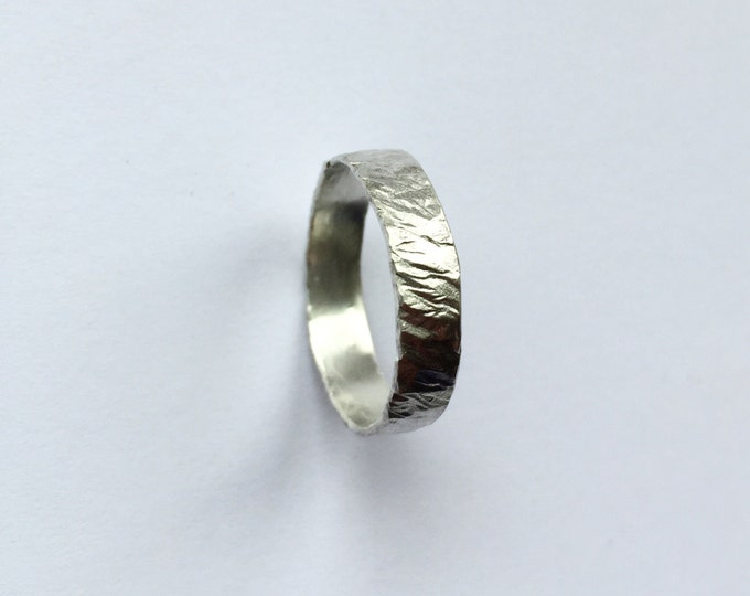 Silver Wheat Ring - Recycled Sterling Silver Ring - Organic - Hammered - Wedding Band - Men's Women's - Unisex - Eco