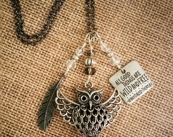 Filigree Owl Charm Necklace, Wirewrapped Charms, Silver or Gunmetal Chain, Quote Charm Necklace