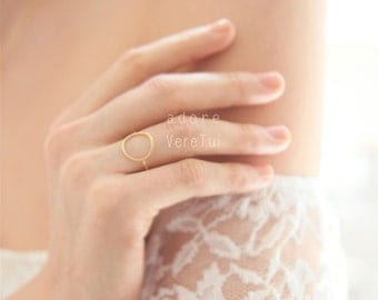 Lovely Dainty Gold Circle Cut out Ring