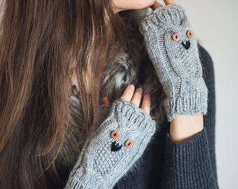 Hand Knit Owl Mittens Winter Fingerless Gloves Light grey Dark grey Arm Warmers  Warm Animal Gloves Mittens Gift for her  Christmas Gift