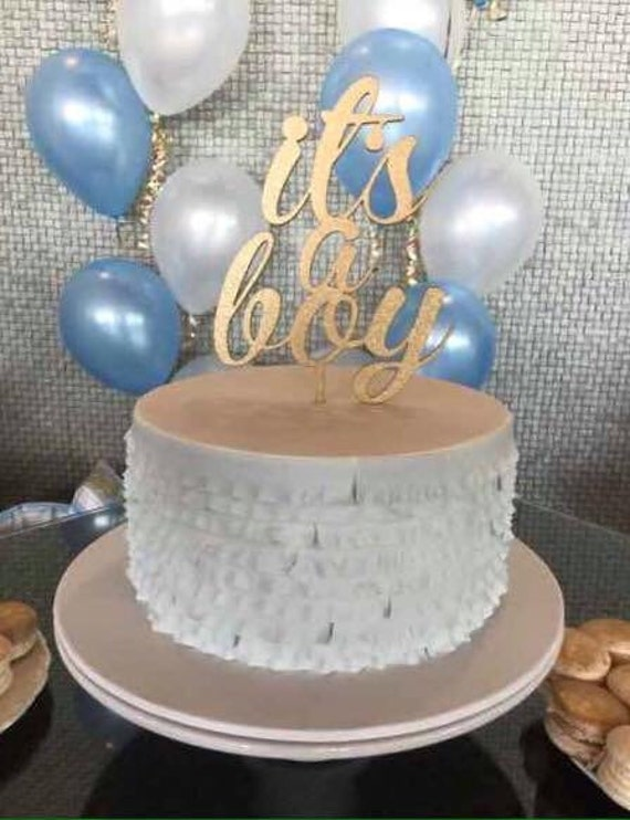 Gender Reveal Cake Topper, Baby Shower Cake Topper, It's a Boy Cake Topper,  Baby Boy Cake, Wooden Cake Topper, Laser Cut Cake Topper