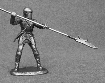 Military Figurines - Knight with Halberd Medieval 1/32 Scale Toy Soldier 54mm Tin Metal Miniature Sculpture Antique Collection