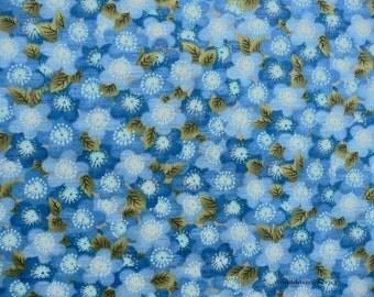 Blue Flower Fabric, Kona Bay Fabrics Tomo 05 Tomorrow Morning,  Blue Flower Fabric, Blue Floral Quilt Fabric, Blue Cotton Yardage