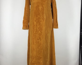 Vintage 1960s Harvest Gold Velvet Floor Length Gown