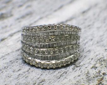 14K White Gold Diamond EFFY Cluster Ring