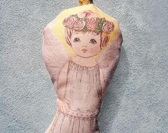 Doll Guardian Angel Protector Angel Soft Doll Art Christian Cloth Doll Christmas Religious Gift Children Baptism children christening