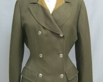 Vintage 80s JUNIOR GAULTIER JACKET Extreme Hourglass Silhouette Double Breasted Blazer Military Style  Size 44  Bust 39.5